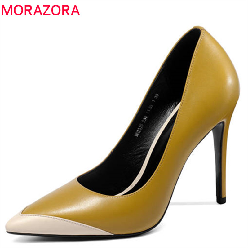 MORAZORA 2018 hot sale women pumps spring summer ladies shoes pointed toe genuine leather party wedding shoes high heels shoes hot sale pointed toe buckle charm fashion wedding shoes genuine leather sexy red pumps women pumps high quality high heels shoes