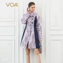 VOA Silk Trench Coat Women Rococo Lolita Lavender Purple Elegant Ladies Outerwear Sweet Overcoat Kawaii Buckle Clothes Fall F350
