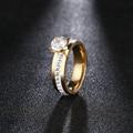 Женское кольцо из нержавеющей стали DOTIFI, классические кольца из 4 зубцов с цирконием, для помолвки и свадьбы