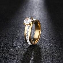 DOTIFI 316L anillos de acero inoxidable para mujeres clásico elevado 4 puntas única Zirconia boda anillo de la joyería