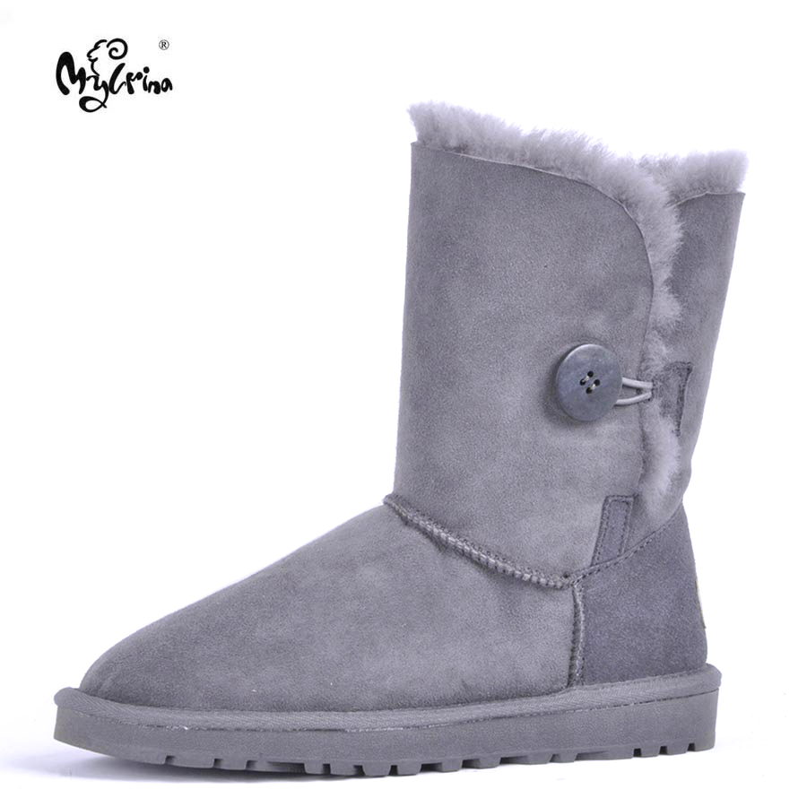 Top Quality 2018 New Fashion 100% Genuine Sheepskin Leather Snow Boots Natural Fur Mujer Botas Warm Wool Non-Slip Winter Shoes top quality 2018 new fashion 100% genuine sheepskin leather snow boots natural fur mujer botas warm wool non slip winter shoes