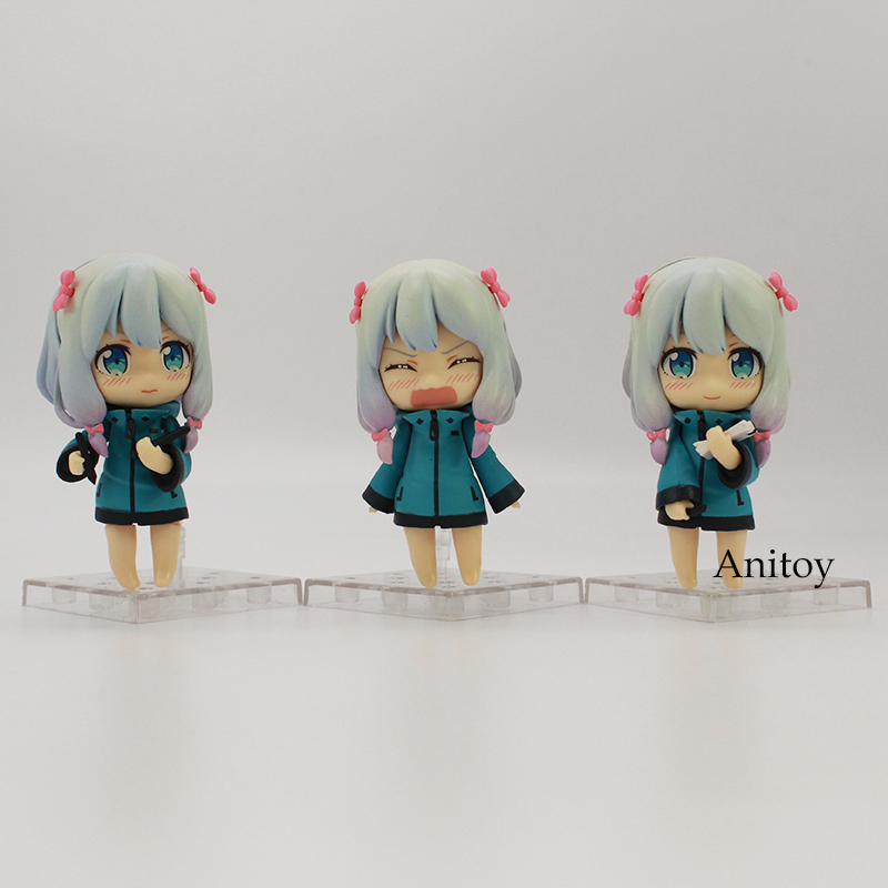 Nendoroid Eromanga Sensei lzumi Sagiri Q Version Cute Doll PVC Action Figure Collectible Model Toy 3pce/set 8.5cm 1