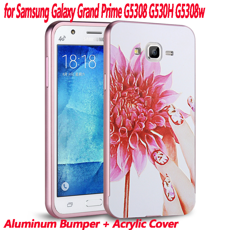 G530 Luxury Gold Plating Armor Aluminum Frame + Mirror Acrylic Case for Samsung Galaxy G5308 Grand Prime G530h G5308w Back Cover