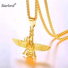 Faravahar Ahura Pendant Necklace Stainless Steel Jewelry Ahura Zoroastrian Achaemenian Pendant Iranian Jewelry GP2774