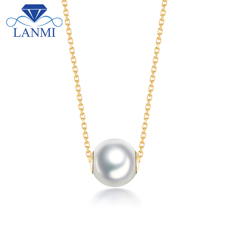 Fantastic Good Quality Real 18K Yellow Gold Seawater Pearl Pendant Necklace including Chain for Party Wedding Gift
