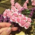 144 pcs mini bonito rosa de papel feitas à mão flor artificial para decoração de casamento diy grinalda presente scrapbooking artesanato flor falsificada