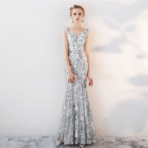 Image 3 - ヴィンテージ V ネックイブニングドレス床の長さのイブニングパーティードレスシルバースパンコールマーメイドスタイルフロントスプリットイブニングドレス