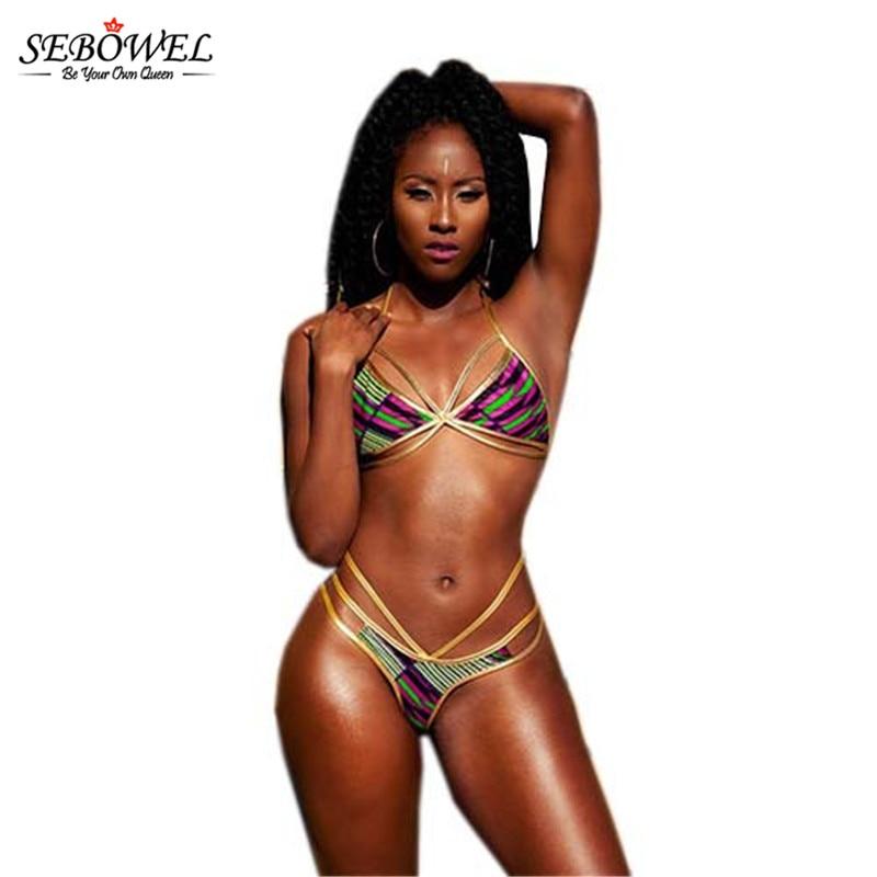 SEBOWEL 2018 Sexy afrikansk Bikinisett Kvinner 2 stk Bandasje - Sportsklær og tilbehør