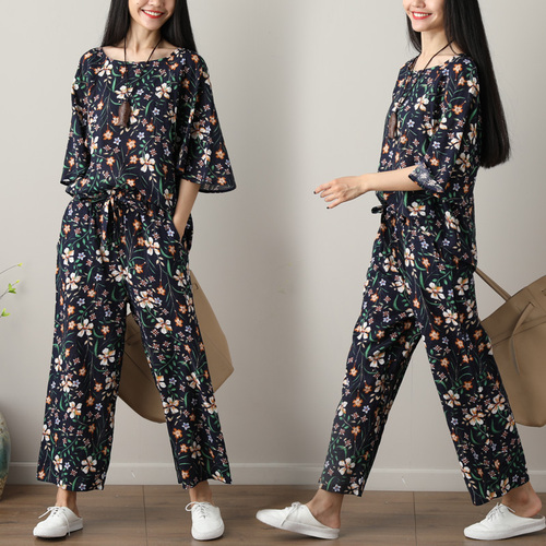 Summer Printed Cotton Linen Two Piece Sets Women Batwing Sleeve Tops And Wide Leg Pants Sets Suits Casual Loose Vintag Sets 2019 45