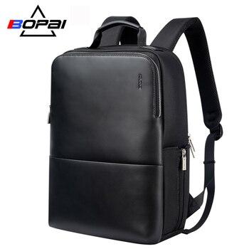 BOPAI Brand Laptop Backpack Anti-theft Men 15 Inch Microfiber Shoulders Travel School Bag Waterproof