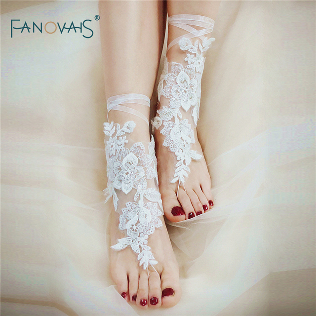 cf9c55cba882a Vintage Wedding Barefoot Sandals Beaded Beach Pool Wear Anklet Bridal  Gloves Wedding Lace Barefoot Beach Sandals