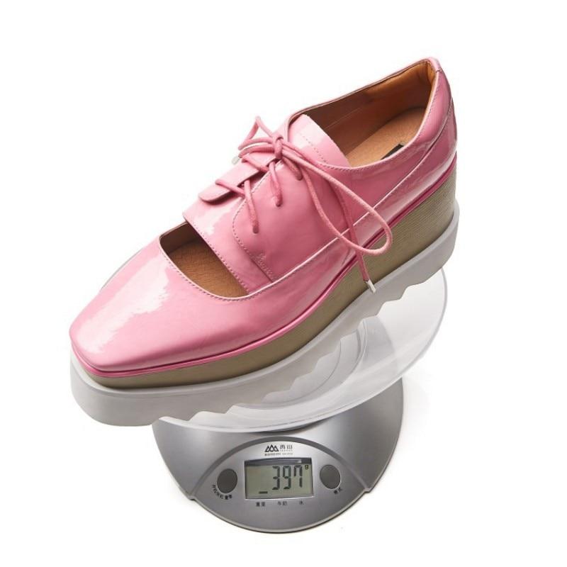 Chaussures Échancré Femmes Cales 2 Printemps Véritable Semelles Compensées À Épais Décontracté Dentelle Rose Cuir 2019 En Streetwear Up Verni 1 Nouveau c8R8Wg