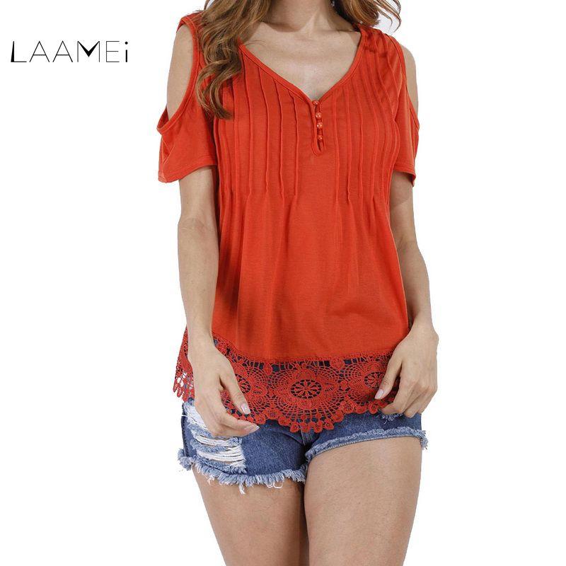 Laamei 2018 Summer Women Sexy Short Sleeve Tshirt Plus Size Off Shoulder Lace Crochet Tee Tops Female Casual Slim Button T Shirt