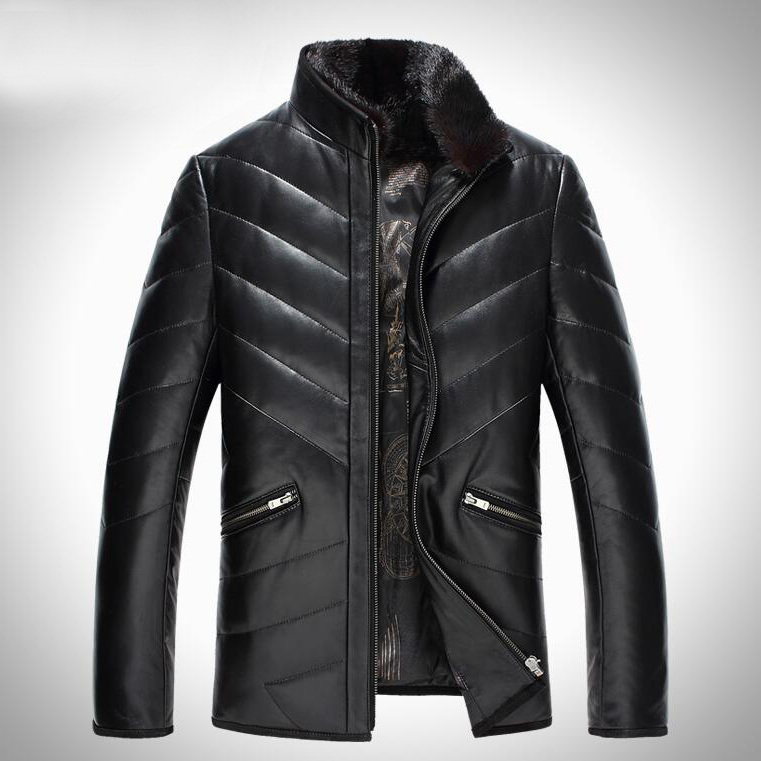 Coats Motorcycle-Coats Sheepskin Genuine Slim Fashion G0005 Fur-Collar Duck-Down Hip-Hop