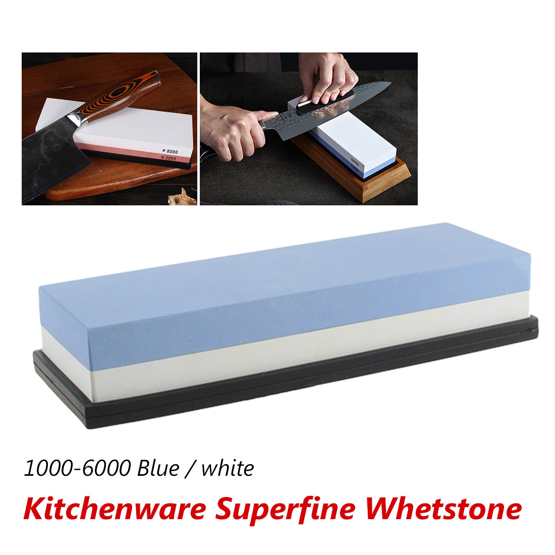 Sharpening Stone <font><b>Whetstone</b></font> Knife Sharpener Dual Sided <font><b>1000/6000</b></font> Grit Combination Knife for Kitchen image