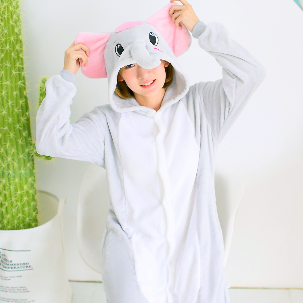 Hot Selling Winter Animal Onesie Adult   Pajamas     sets   Zoo Elephant Funny Party Costume For Women Men Girls   Pajamas