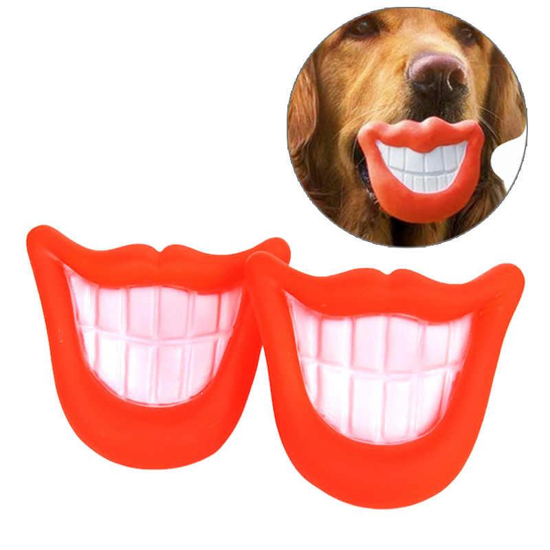 Hewan Peliharaan Anjing Berderit Mainan Merah Menyala Bibir Bentuk Phlox Suara Mencicit Melempar Menggerogoti BB Sounder Mainan Anjing Kucing Mengunyah Molar mainan