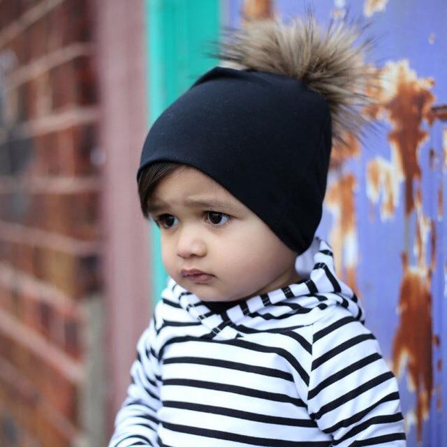 2017 winter fur pom pom slouchy kids beanie   Hipster beanie hat   Boy slouchy  beanie c06b056ad35