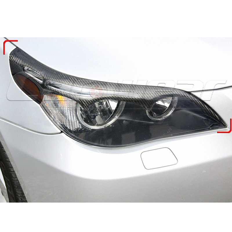 E60 Carbon Fiber Car Headlight Eyebrows Cover Trim Sticker for BMW E60 2005-2011 цены онлайн