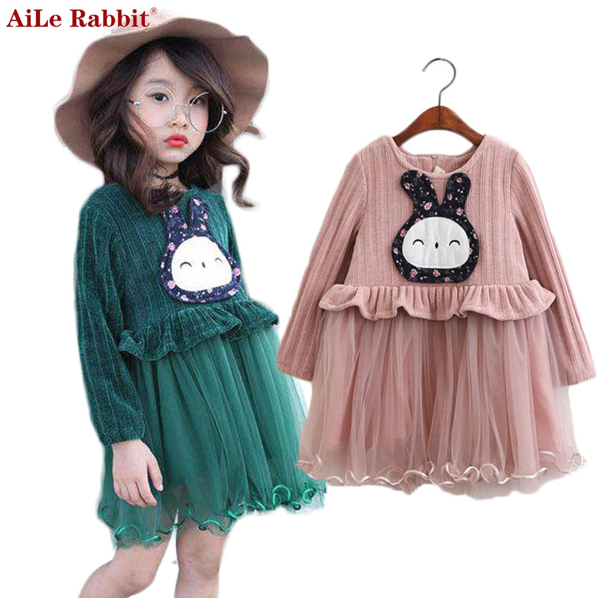 AiLe Rabbit 2017 New Girls Dress Autumn Long-sleeved Cartoon Rabbit Dress Bunny Princess Party Dress Pink Children's Clothi baile pink bunny эрекционное кольцо с вибрацией