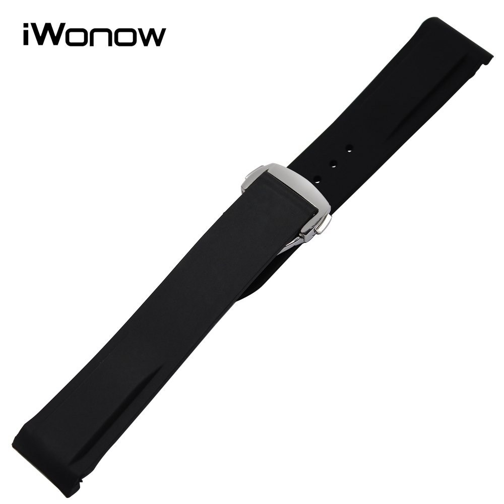 Curved End Silicone Rubber Watchband 20mm 22mm for Speedmaster Globemaster Olympic Watch Band Butterfly Buckle Wrist Strap Black croco genuine leather watchband 22mm tool for speedmaster globemaster replacement watch band butterfly buckle wrist strap black
