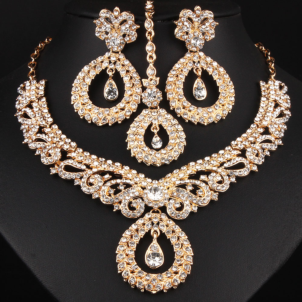 FARLENA Jewelry Clear Crystal Rhinestones Chandelier Necklace Earrings Frontal Chain Romantic Indian Bridal Jewelry Sets(China)
