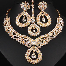FARLENA Jewelry Clear Crystal Rhinestones Chandelier Necklac
