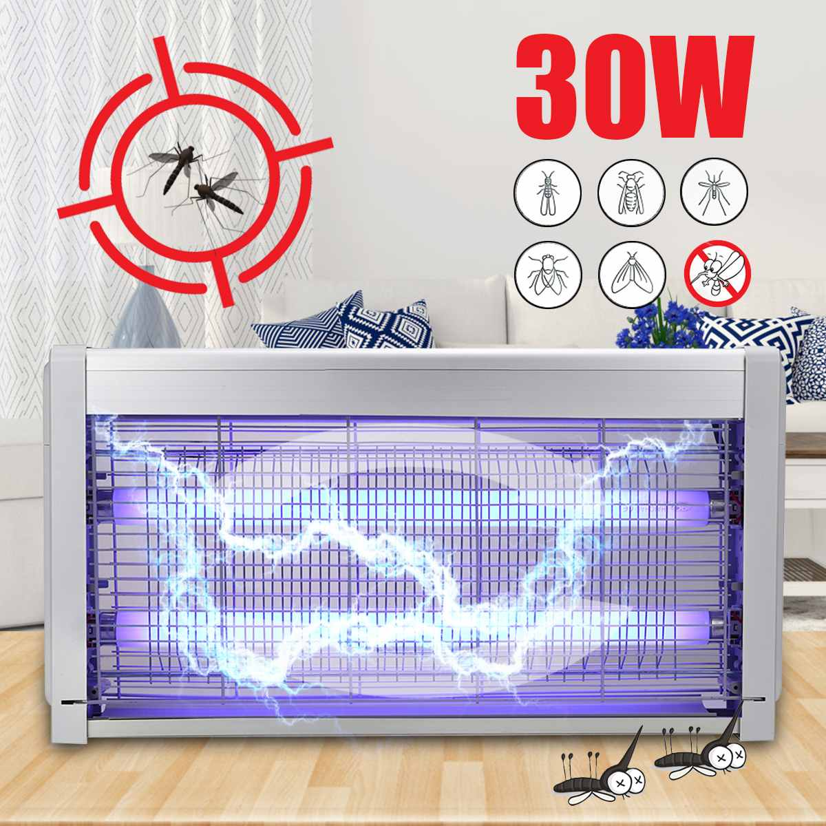 30 W 220 V moustique tueur lampes extérieur LED électronique choc intérieur moustique insecte insecte mouche Zapper tueur lampe piège maison AU Plug