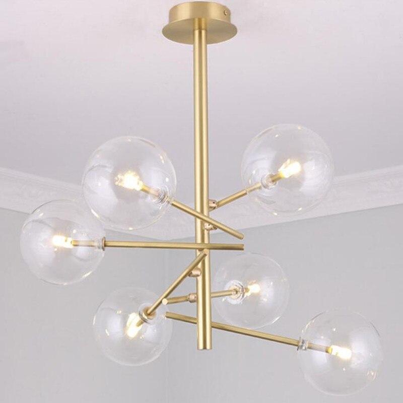 Nordique moderne LED Verre Clair Globe Ballon Rond Miroir Pendentif Lumières Suspendus Éclairage Pour Salle À Manger Restaurant Hanglamp Lampe