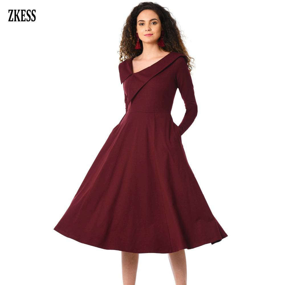 Zkess Women Retro Inspired Asymmetric Collar Flared Dress Long Sleeve Party  Stretched A Line Midi Dress with Pockets LC610388-in Dresses from Women s  ... 907f400170ee
