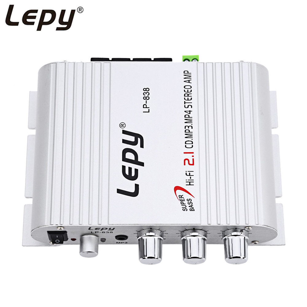 Lepy Three Channel MiNi Portable Car Amplifier Mega Bass Car Stereo Subwoofer Amplifier Audio Accessory Compatible Phone MP3 Mp4