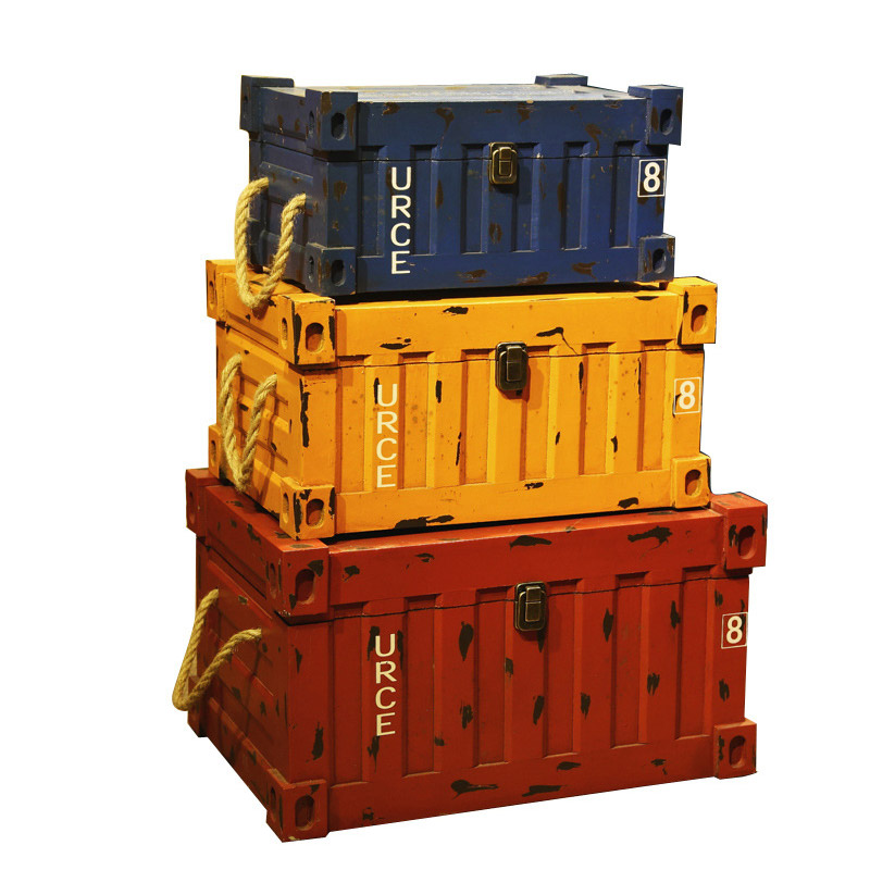 Vintage Wooden Storage Box Container Three Size Retro Wood Craft For Bar Organizer Desket Decorations Packaging