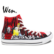 Wen Hand Painted Red Shoes Design Custom Walking Dead Women Men's High Top Canvas Sneakers for Christmas Gifts