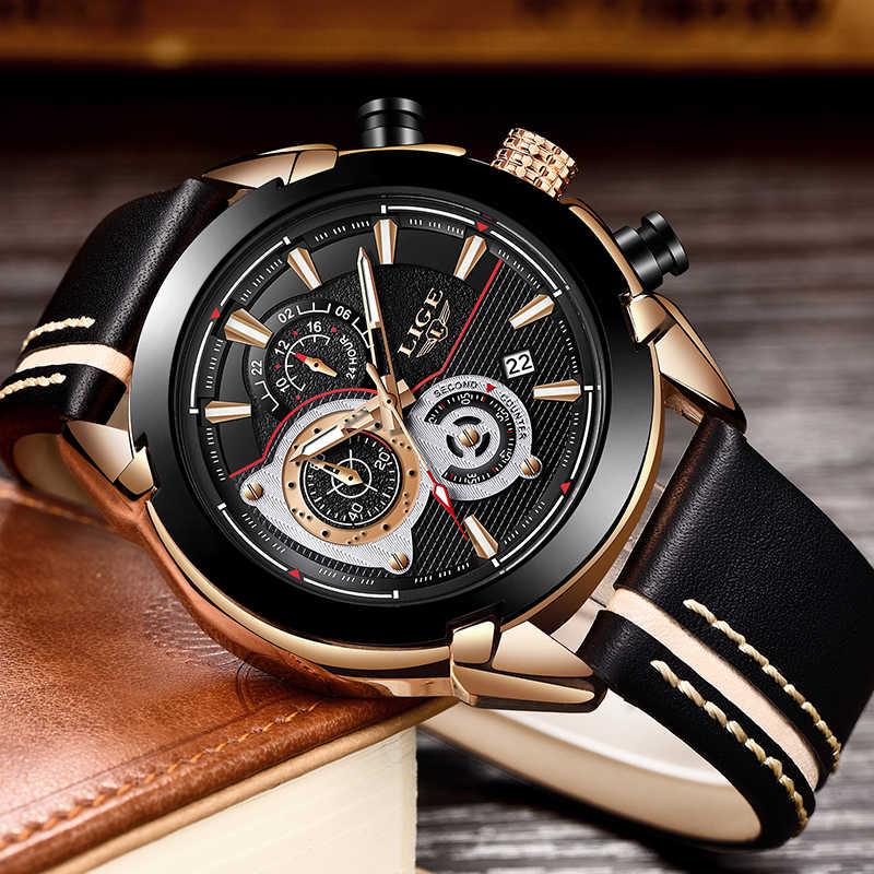 ליגע Mens שעונים למעלה מותג יוקרה קוורץ זהב שעון גברים מקרית עור צבאי עמיד למים ספורט שעון יד Relogio Masculino