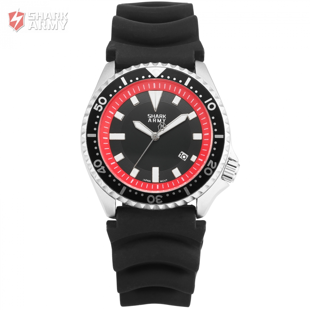 New font b Shark b font Army font b Watch b font Silver Case Red Dial