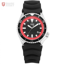 New Shark Army Watch Silver Case Red Dial Outdoor Sport White Hands Silicone Band Men Male Quartz Military Watches/SAW112