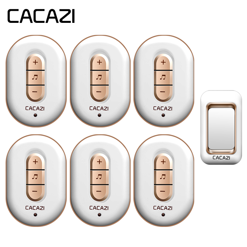 цена CACAZI Wireless Waterproof Doorbell 1 Battery Button + 6 Receivers 280M Remote Home Cordless Bell US EU Plug 6 Volume 48 Chime