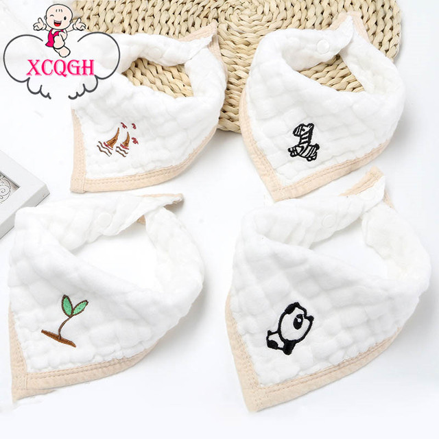 Xcqgh 4pcs Lot Gauze White Cute Baby Bibs Burp Cloth Triangle Boys