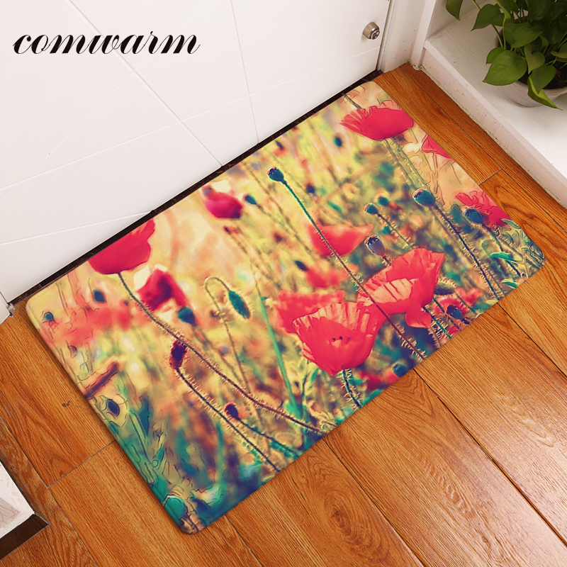 Comwarm Doormat for Entrance Door Colorful Beautiful Rose Flower Carpet Anti Skid Bathroom 40*60cm Flannel Light Rugs Home Decor