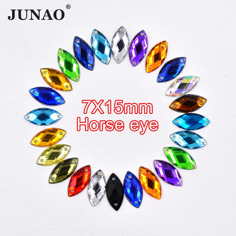 JUNAO 1000pcs 7x15mm 17 Color Crystal Sew On Rhinestones Acrylic Stones Horse Eye Crystal Sewing Flatback Strass for DIY Clothes