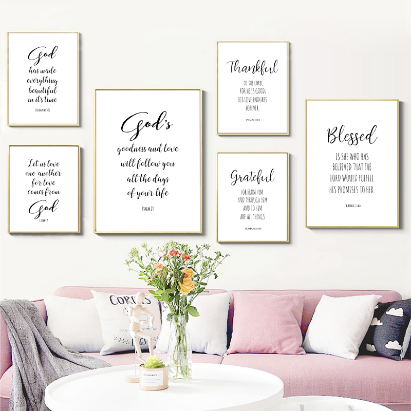 Bible Verse Typography Christian Wall Art Canvas Painting Scripture God Quote Posters And Prints Pictures Living Room Home Decor