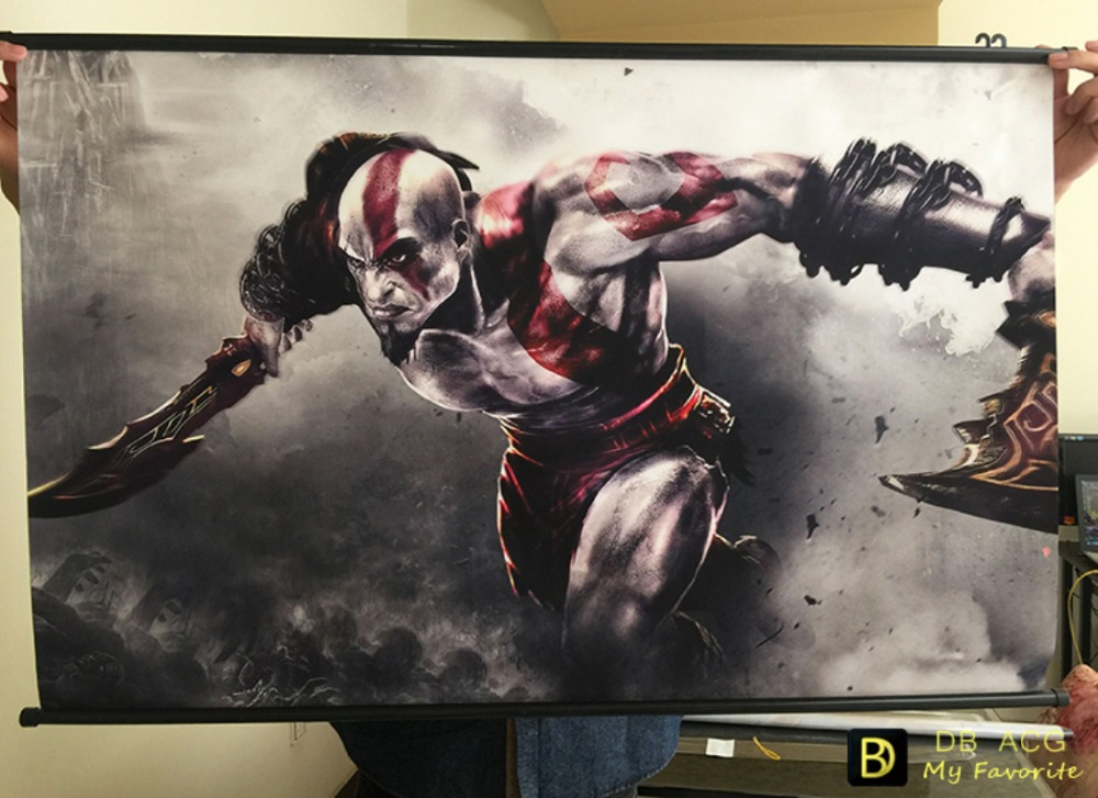 God of War III: Kratos HD Game Scrolls Poster Bar Cafes Home Decoration Banners Hanging Art Waterproof Cloth Decorative