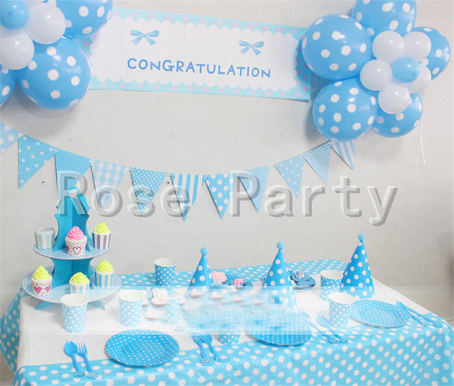 Blue Color House Party Banners Paper Flags Decoration Pennats Kids Boy Favors Happy Birthday Baby Shower