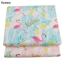 Syunss pano de patchwork para acolchoamento, berço de bebê, almofadas, vestido de costura, tecido de algodão com estampa de flamingo azul rosa