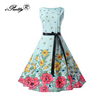 IPretty Women Dress New Arrival 2017 Christmas Tree Print Vintage Sleeveless A Line Autumn 50s 60s