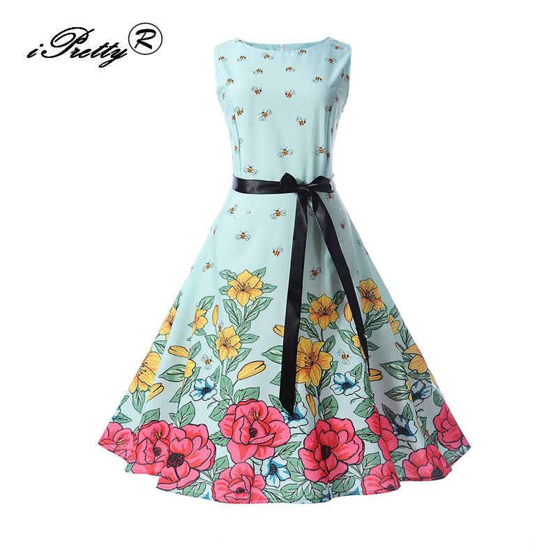 iPretty women dress New Arrival 2017 Christmas Tree Print Vintage Sleeveless A Line Autu ...