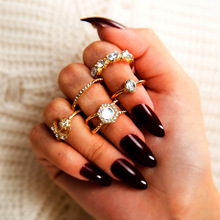 5Pcs/Set Fashion Vintage Star Moon Crystal Finger Ring Set Bohemian Gold Color Crown Knuckle Midi Rings Women Jewelry Gifts