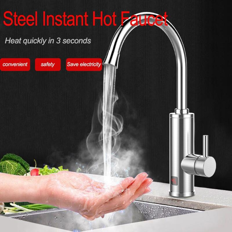Multifunctional Kitchen Stainless Steel Hot Faucet Instantaneous Electric Hot and Cold water Water Heater Tap AU Plug