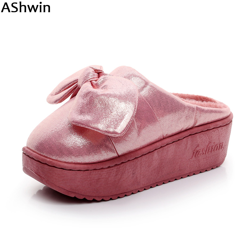 AShwin fashion winter slippers platform heels cotton slipper warm snowshoes thermal fur slipper bowtie waterproof home slipper korean style turndown collar solid color double breasted long sleeves polyester trench coat for men