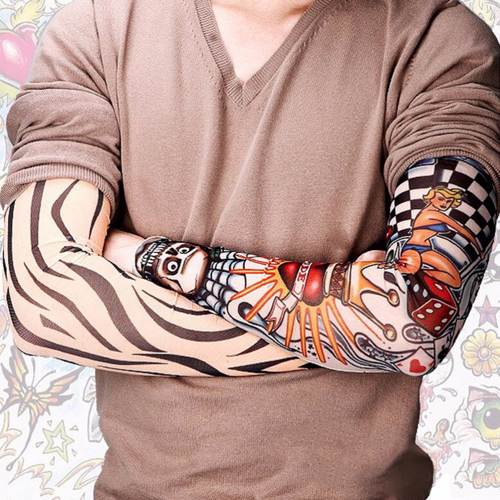 Nylon Tatoo Arm Stockings Arm Warmer Cover Elastic Fake Temporary Tattoo Sleeves For Men Women